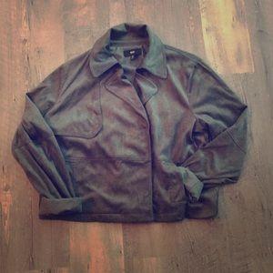 Cropped velvet side snapped blazer